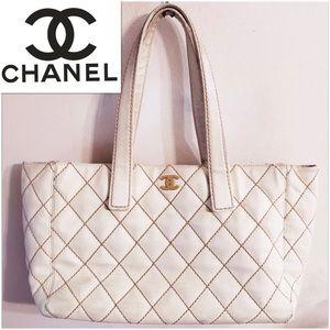 CHANEL White Tote Wild Stitch calf Skin Leather a5aefba587d3e
